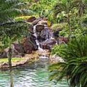 Tropical Garden Waterfall Poster