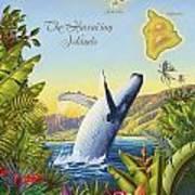 Tropical Hawaiian Island Map Poster by Anne Wertheim
