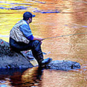 Trout Fisherman In Autumn Poster