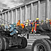 Truck And Dolls With Selective Coloring Poster
