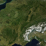 True-color Satellite View Of France Poster