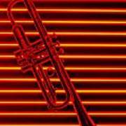 Trumpet And Red Neon Poster by Garry Gay