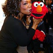 Tv Host Oprah Winfrey And Friend Elmo Poster