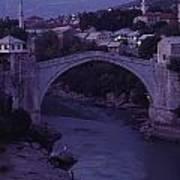 Twilight View Of A 15th-century Bridge Poster