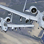 Two A-10c Thunderbolt II Aircraft Fly Poster