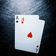 Two Aces Playing Cards On Stainless Steel. Poster