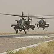Two Ah-64 Apache Helicopters Prepare Poster