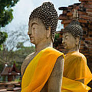 Two Buddha Statues Wrapped In An Orange Scarf  Poster