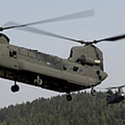 Two Ch-47 Chinook Helicopters In Flight Poster