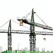 Two Cranes On A Construction Site Poster by Yali Shi