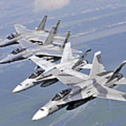 Two Fa-18 Hornets And Two F-15 Strike Poster