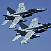 Two Fa-18c Hornets In Flight Poster