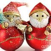 Two Father Christmas Decorations Poster