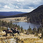 Two Horsemen Ride Above Pecos Baldy Poster