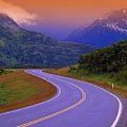 Two Lane Country Road In Mountains Poster