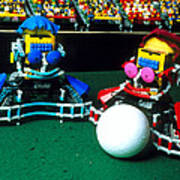 Two Lego Footballers With A Ball At Robocup-98 Poster by Volker Steger