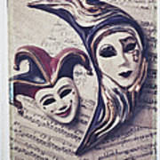 Two Masks On Sheet Music Poster
