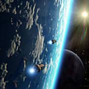 Two Survey Craft Orbit A Terrestrial Poster by Brian Christensen