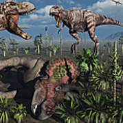 Two T. Rex Dinosaurs Confront Each Poster by Mark Stevenson