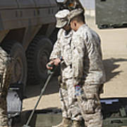 Two U.s. Marines Use A Mine Detector Poster