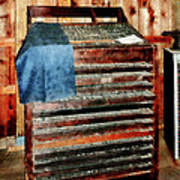Type Case With Denim Apron Poster