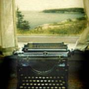 Typewriter By Window Poster