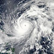 Typhoon Sanba Over The Pacific Ocean Poster
