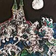 Unicorn In Sea Below Castle Poster by Carol Law Conklin