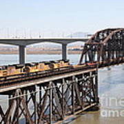 Union Pacific Locomotive Trains Riding Atop The Old Benicia-martinez Train Bridge . 5d18850 Poster