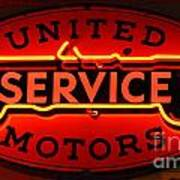 United Motors Service Neon Sign Poster