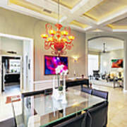 Upscale Dining Room Interior Poster