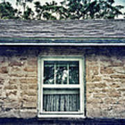 Upstairs Window In Stone House Poster