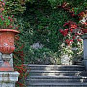 Urn And Steps At A Villa On Lake Como Poster