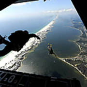 U.s. Airmen Jump Out Of A C-130 Poster