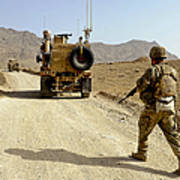 U.s. Army Soldier Moves To His Mrap Poster