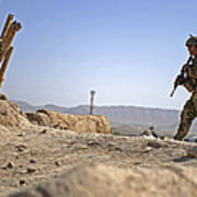 U.s. Army Soldier On A Foot Patrol Poster