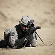U.s. Army Soldier Sights In A Barrett Poster