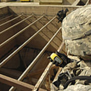 U.s. Army Soldier Takes A Gps Grid Poster by Stocktrek Images