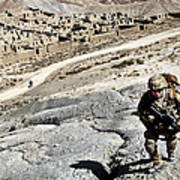 U.s. Army Soldiers And Afghan Border Poster