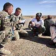 U.s. Army Soldiers Speak With Elders Poster