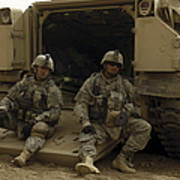 U.s. Army Soldiers Waiting At Patrol Poster