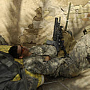 U.s. Army Specialist Takes A Nap Poster