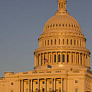 Us Capital Dome Sunset Glow Poster
