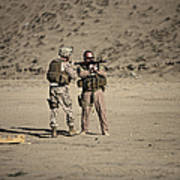 U.s. Contractor Firing An Automatic Poster