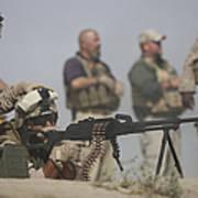 U.s. Marine Firing A Pk 7.62mm Machine Poster