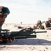 U.s. Marine Guards The Camp Perimeter Poster