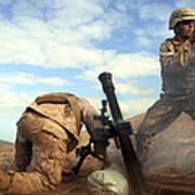 U.s. Marine Holds A Mortar Tube Steady Poster