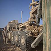 U.s. Marine Uses A Logistics Vehicle Poster