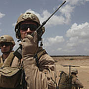 U.s. Marine Uses A Radio In Djibouti Poster by Stocktrek Images