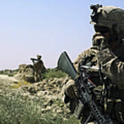 U.s. Marine Uses A Radio Poster